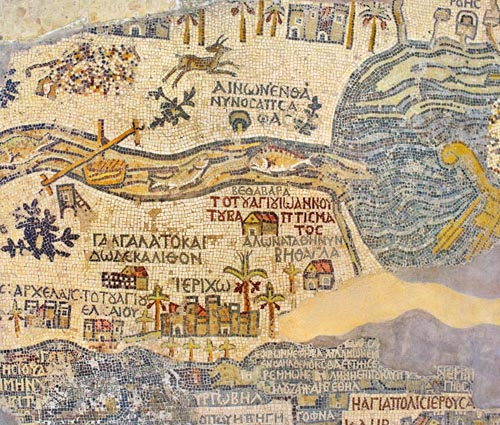 Jordan. Madaba (biblical Medeba) - St. George's Church. Fragment of the oldest floor mosaic map of the Holy Land - the Jordan River and the Dead Sea
